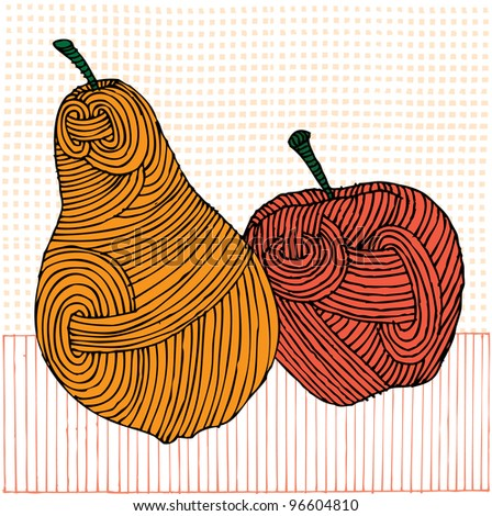 Red Apple And Yellow Pear On Pattern Background