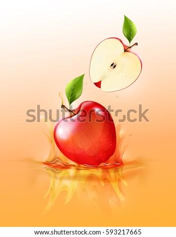 red apple drop on juice splash