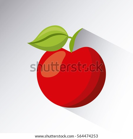 red apple icon over white background. colorful design. vector illustration