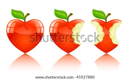 red apple in form of love heart - vector illustration, isolated on white background