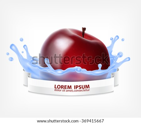 red apple in water splash with