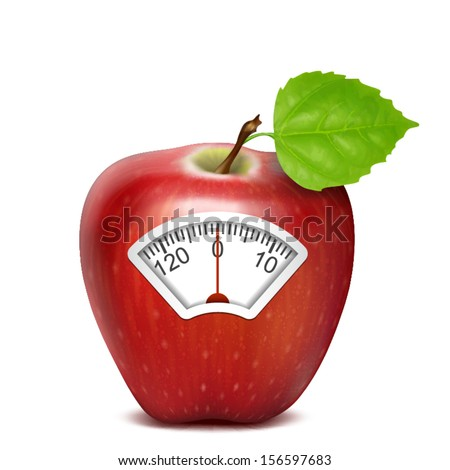 red apple isolated scale with