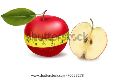 Red apple measured the meter, sports apple. Vector illustration - stock vector