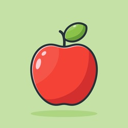 red apple, vector design, illustration of cute fresh red apple icon in flat style with outline on green background