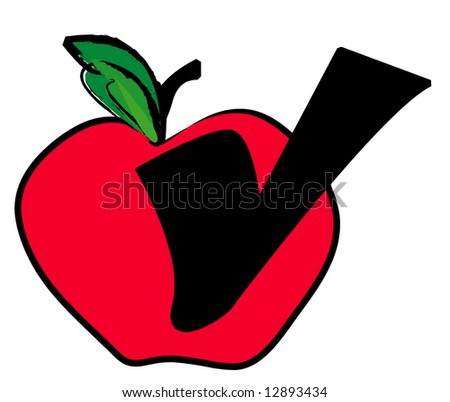 red apple with check mark showing healthy food choice - vector