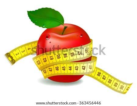 Red apple with measuring tape. The symbol of healthy nutrition