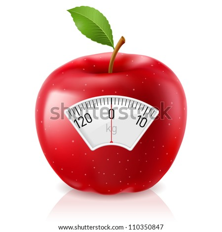 Red Apple With Scale for a Weighing Machine
