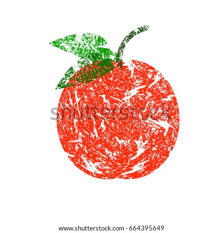 Red Apple With the leaf. Vector illustration. An object.
