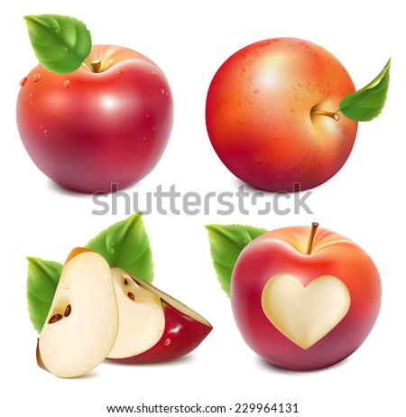 red apples and apples slices