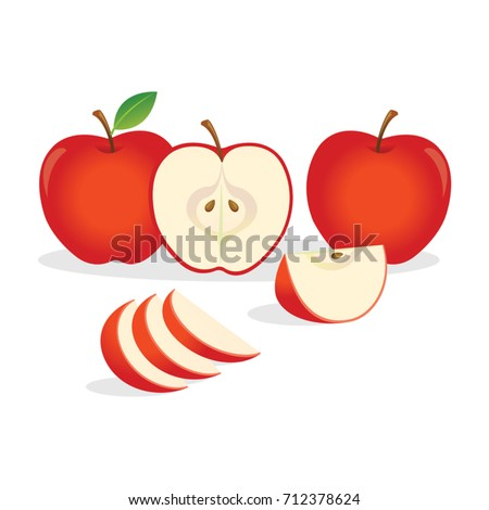 Red apples. Vector illustration.