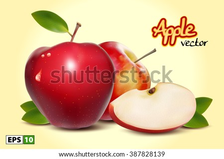 red apples with green leaves
