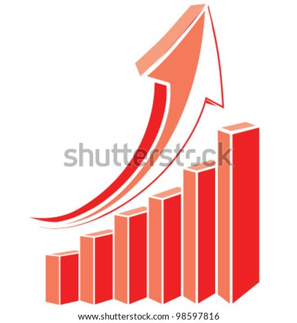 Red arrow diagram chart. Detailed vector illustration