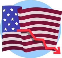 Red arrow fall down on the background of the flag United States of America.  Symbol of economic crisis, economic recession, falling dollar