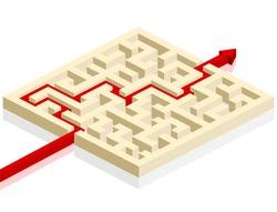 red arrow going through the maze. path across a labyrinth, eps 8 vector