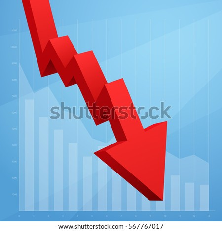 Red arrow graph going down isolated on white background. Vector illustration