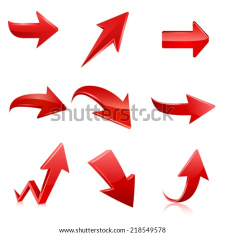Red arrow icon set. Vector