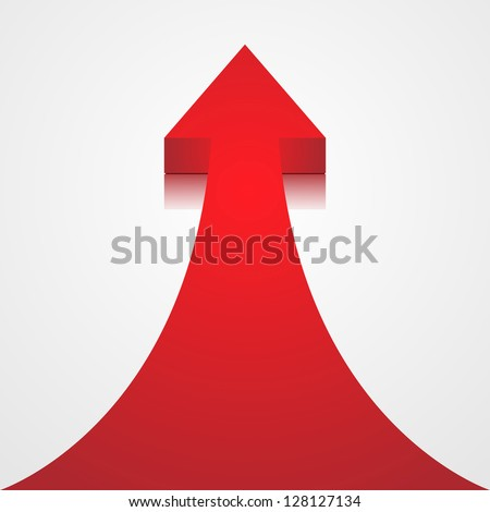 Red arrow on white background - vector illustration
