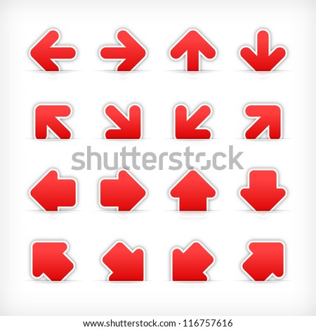 Red arrow sign sticker on cut paper pocket. Web button blank satin shapes with gray drop shadow on white background. This vector illustration clip-art design element saved in 10 eps