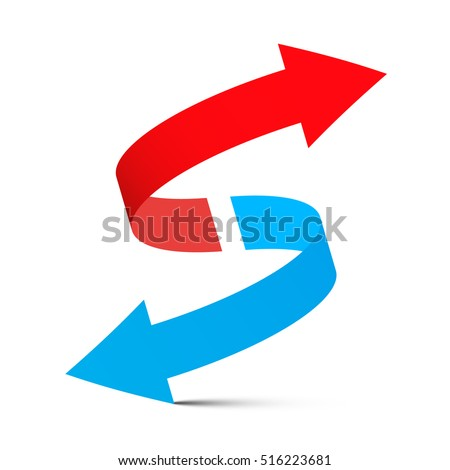 Red Arrow Up - Blue Arrow Down. Double Arrows Set Isolated on White Background. #516223681