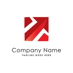 red arrow up square business logo template
