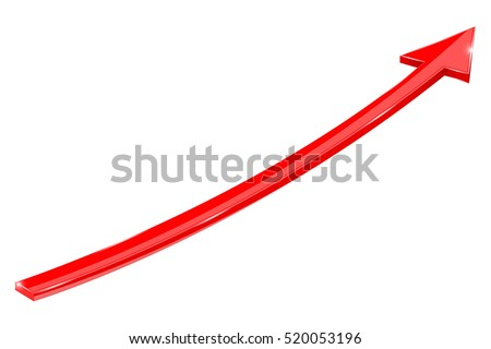 Red arrow. Up web icon. Vector illustration isolated on white background