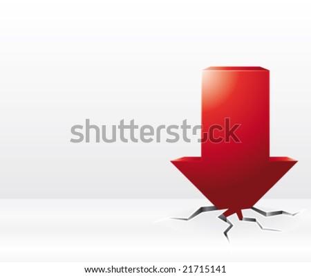 Red arrow vector crash illustration
