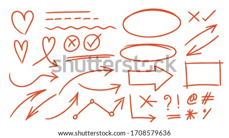 Red arrows design vector.  Doodle Marker hand drawn shapes vector illustration.  Stock photo ©