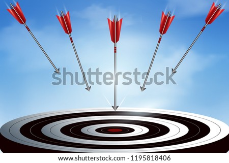 Red arrows many darts fling down from the sky go to center target. business success goal. creative idea. leadership. illustration vector Stock photo ©