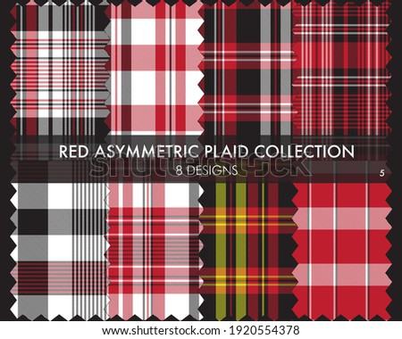 Red Asymmetric Plaid seamless pattern collection includes 8 designs for fashion textiles and graphics Zdjęcia stock ©