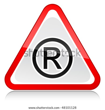 Web icon internet button red attention warning sign with registered symbol isolated on white background