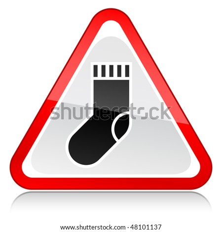 Red attention warning sign with sock symbol on white