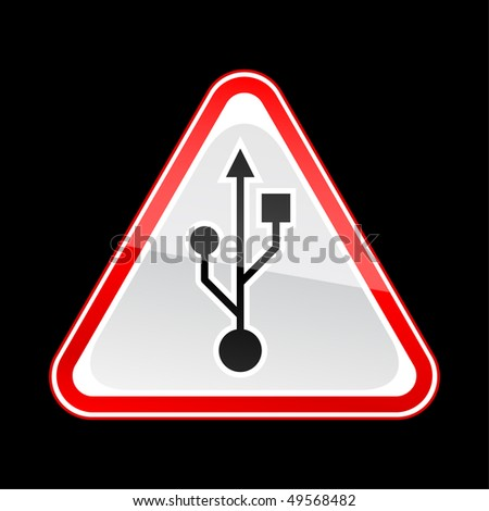 Red attention warning sign with USB symbol on black