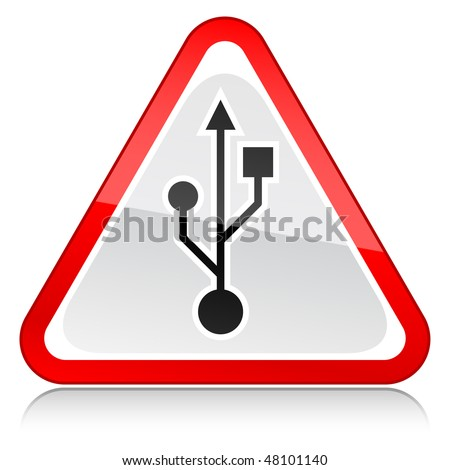 Red attention warning sign with USB symbol on white