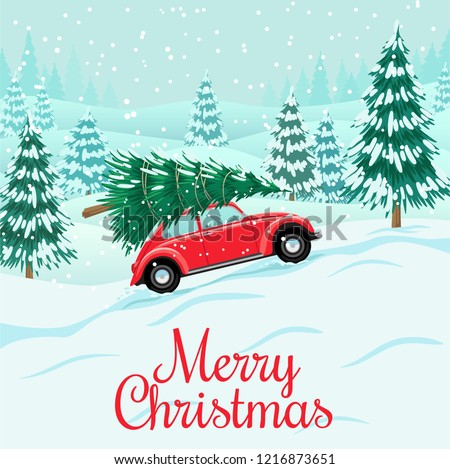 Red auto with christmas tree on roof, snow forest, preparing for celebration of New Year, Christmas, vector illustration in flat style