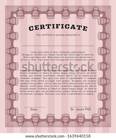 Red Awesome Certificate template. Customizable, Easy to edit and change colors. With quality background. Retro design.
