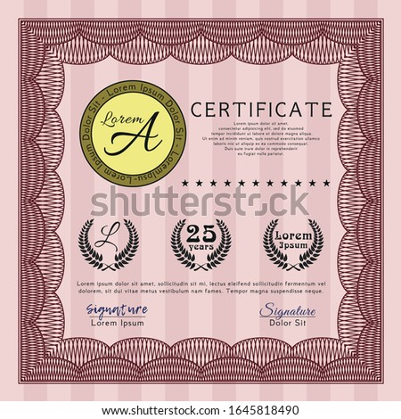 Red Awesome Certificate template. Elegant design. Customizable, Easy to edit and change colors. With quality background.