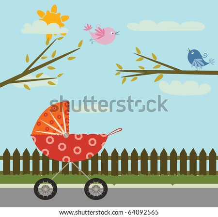 red baby stroller in the park, with fence, branches, sun and clouds and flying pink bird in the sky. cute cartoon illustration