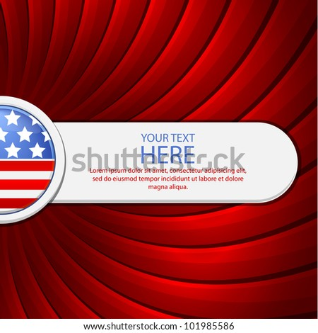 Red background on the theme of July 4th with a white banner