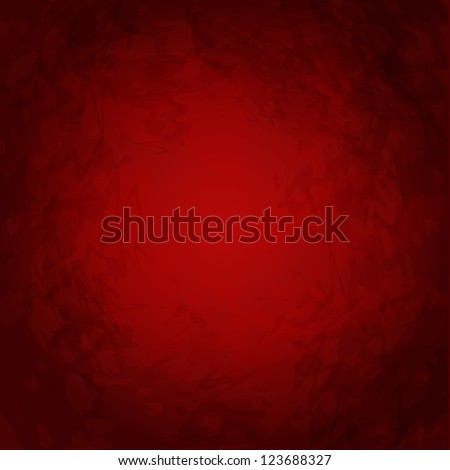 Red background or Christmas paper with bright center - Vector illustration. Spotlight and black vignette border frame texture. Red paper layout design