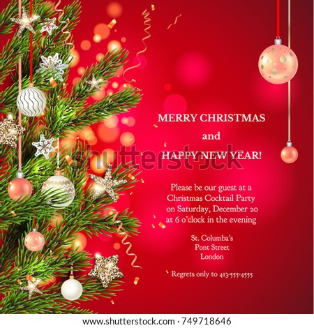 Red background template with Christmas tree branches, Holiday decorations and place for text. Christmas balls, stars and confetti. #749718646