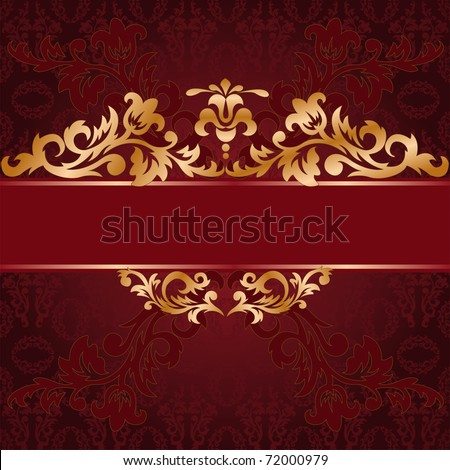 red background with a gold...