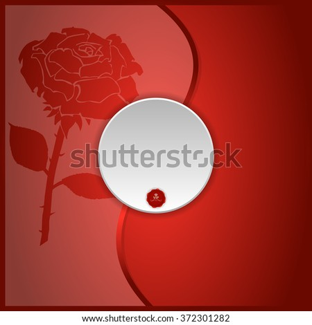 red background with a rose on