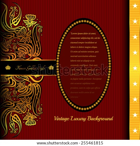 red background with abstract golden flower in left side and vertical gold line with stars in right oval banner middle for your text,card or greeting