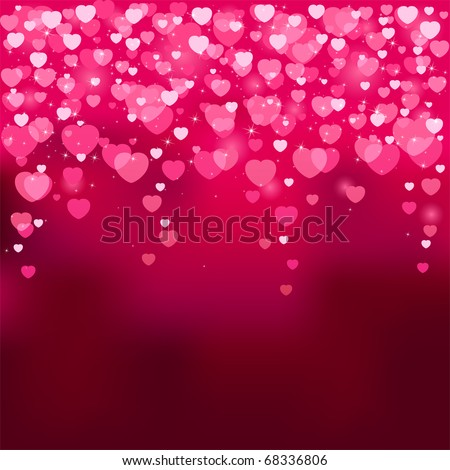 Red background with blurry hearts, illustration