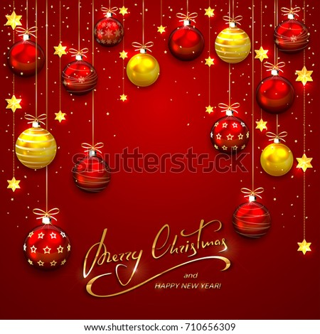red background with christmas