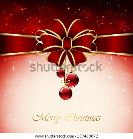 Red background with Christmas balls, bow, snowflake and stars, illustration.