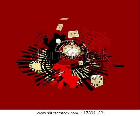 red background with dice and roulette in casino