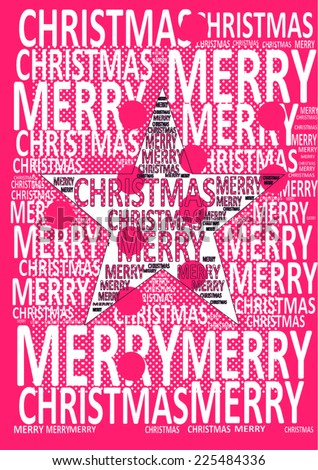 red background with dots and star together for 'merry christmas' celebration. merry christmas text everywhere unusual design. vector graphic design for happy new year posters and gifts.