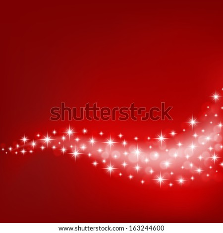 red background with flowing stars and light