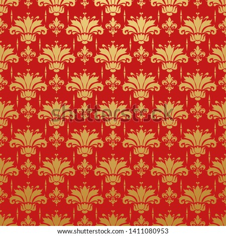 Red background with golden floral pattern in Chinese style for your style, vector image